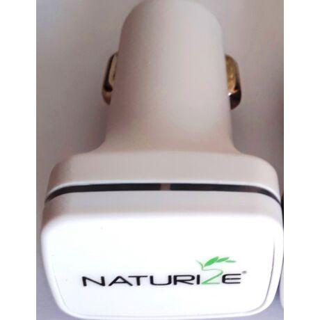 Naturize autós töltő 2 USB porttal (színes logó)
