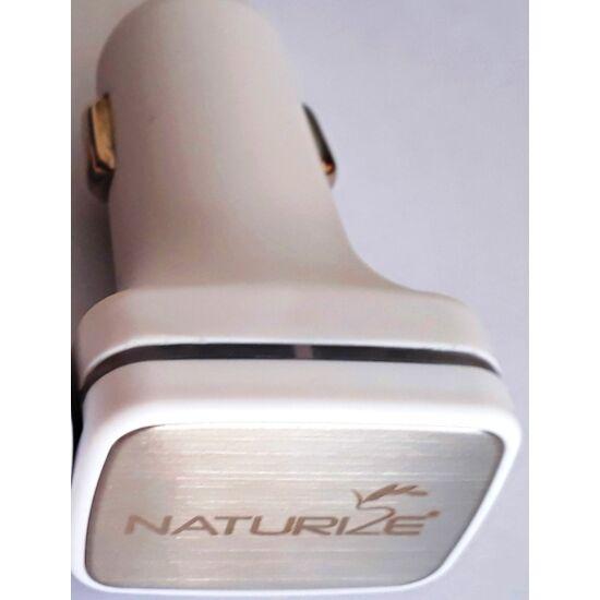 Naturize autós töltő 2 USB porttal (fém logó)